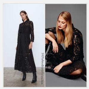 ZARA BLACK LACE BUTTON FRONT SHIRT MAXI DRESS